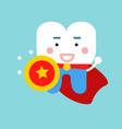 cute cartoon tooth character as superhero dental vector image vector image