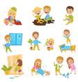 cute little bully kids set hoodlum cheerful vector image