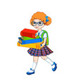 cute schoolgirl with color books vector image vector image