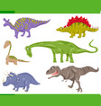 dinosaurs species set cartoon vector image