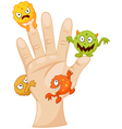 Dirty palm with cartoon germs vector image