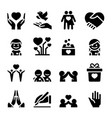 donation charity icons set vector image