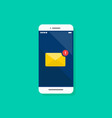email notification on smartphone vector image vector image