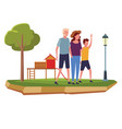 family at park cartoons vector image