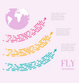 fly infographics of three steps large dotted vector image vector image