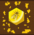 geometric pattern with honeycomb and bee in the vector image vector image