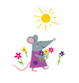 happy rat in dress with flowers vector image vector image