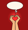 heart love hands gesture vector image vector image
