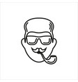 hipster with smoking pipe and sunglasses vector image vector image