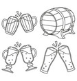 line art black and white draft beer set vector image vector image