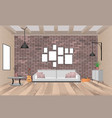 living room interior with furniture in hipster vector image vector image