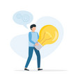 man hold big light bulb big idea concept with man vector image