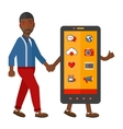 man walking with smartphone vector image vector image