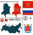 Map of Federal city Saint Petersburg vector image vector image
