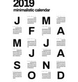 minimalistic design calendar for 2019 year one vector image vector image