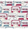 Music symbols Seamless pattern of ratro cassettes vector image vector image