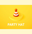 party hat isometric icon isolated on color vector image vector image
