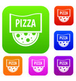 pizza badge or signboard set color collection vector image vector image
