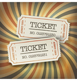 retro tickets on sunburst vector image vector image