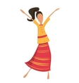 Retro woman or hipster dancing in retro dress vector image vector image