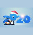 santa claus on forklift loading 2020 happy new vector image vector image