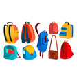 school backpack set education object kids vector image vector image