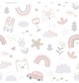 seamless pattern with cute animals faces and vector image vector image