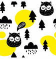 seamless pattern with cute owl birds in the vector image vector image