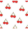 seamless pattern with twin red cherries vector image vector image