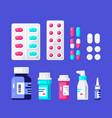 set medicine bottles pills and tablets vector image
