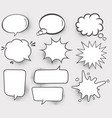 set speech bubbles halftone shadows vector image