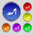 Shoe icon sign Round symbol on bright colourful vector image vector image