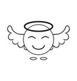 simple image of an angel smiley with wings linear vector image