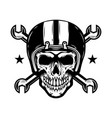 skull in racer helmet with crossed wrenches vector image vector image