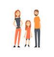 smiling mother father and daughter happy family vector image vector image