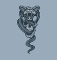 snake through skull monochrome tattoo style vector image vector image