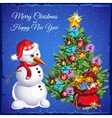 Snowman with Christmas tree with colorful gifts vector image vector image