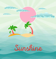 Summer beach scene sun clouds in the sky palms vector image vector image