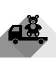 truck with bear black icon with two flat vector image vector image