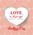 Valentine Day with heart love vector image vector image