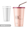 white disposable plastic cup with lid and straw vector image vector image