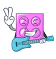 with guitar toy brick mascot cartoon vector image