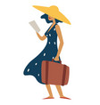 woman in straw hat with baggage reading brochure vector image