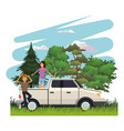 young people traveling on road vector image
