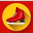 Red classic ice figure skates icon Sport vector image