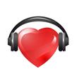 heart with headphones vector image