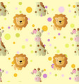 pattern with cartoon cute baby giraffe and lion vector image
