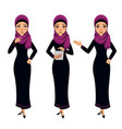 arab business woman character different poses vector image vector image