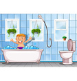 Boy taking a bath in bathroom vector image vector image