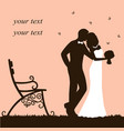 bride and groom wedding card with newlyweds on a vector image vector image